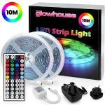 10M Ruban LED lumineuse ruban 600 LEDs 5050 RGB SMD, Bande LED Lumières Décoratives Etanche avec Télécommande à 44 Touches