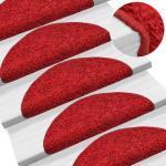15 tapis d'escalier rouge avec bandes adhésives 65 x 25 cm DEC023575