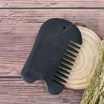 1pc Noir Naturel ¿¿Nergie Bian Pierre Guasha Gua Sha Conseil Peigne Magique Massage Peigne Pierre Aiguille Pr¿¿Venir La Perte De Cheveux