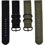 2 pièces 22 mm Bracelet de Montre en Nylon, Vert d'armée et Noir