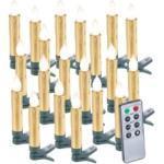 20 bougies LED pour sapin de Noël avec télécommande - coloris doré Lunartec