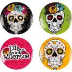 4 Badges 3 Cm Dia De Los Muertos Taille Unique