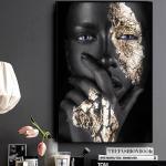 4yang Art Africain Noir Et Or Femme Peinture À L'huile Sur Toile Affiches Et Impressions Art Mural Scandinave Photo Pour Salon