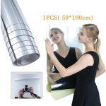 50 100cm Long Miroir Autocollant Décalcomanie Auto-Adhésif Miroirs Muraux Pour Salon Décor Salle De Bain Décoration Argent Meubles Films