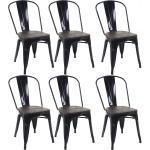 6 chaises de salle à manger style industriel factory métal noir et assise en bois CDS04641