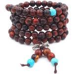 6MM 108 perles de prière en bois de rose avec des perles bleues bracelet bouddhiste tibétain bouddha méditation mala bracelets/collier