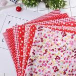 7pcs 50 50cm Literie Prédécoupée En Tissu De Coton Diy Carré Assortis Suite Dortoir(Rouge) Dbt