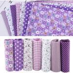 7pcs Literie Prédécoupée En Tissu De Coton Diy Carré Assortis Suite Dortoir 50 50cm(Violet)