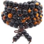 8MM 108 perles de prière Mala Bracelet, sandale noire en yin et yang, collier de méditation Bouddha Bouddha Bouddha en bois
