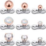 9 Pcs 14g Cubique Zircone Et Opale Dermique Ancre Hauts Et Base En Acier Chirurgical Microdermiques Piercings Corps Bijoux Boule Siz