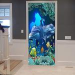 A.Monamour Sticker Porte Autocollant Poster de Porte 3D Océan Bleu Poisson Dauphin sous-Marin Vie Marine Monde sous-Marin Vinyle Affiche de Porte Sticker Mural Papier Peint Art Décor 77 x 200 cm