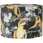 Abat-jour cylindrique imprimé perroquet noir H30 cm