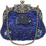 Aileder Sac de soirée vintage avec perles à paillettes - Pour femme - Pour mariage, bal de fin d'année, fête, sac à main avec chaîne - Bleu - bleu, Small