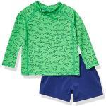 Amazon Essentials 2-Piece Long-Steeve Rashguard and Trunk Set Rash Guard, Green Shark, 12 Months