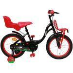 Amigo Spring - Vélo Enfant pour Les Filles - 16 Pouces - avec Frein à Main, Frein à rétropédalage, Porte-Bagages Avant, Siège vélo pour poupée et stabilisateurs vélo - à partir de 4-6 Ans - Noir