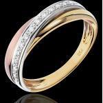 Anneau Saturne Diamant - 3 ors - trois ors 18 carats