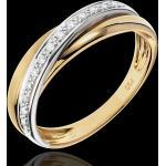 Anneau Saturne Diamant - or blanc et or jaune 18 carats