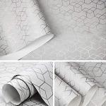 Argent Blanc De Luxe Géométrique Papier Peint Rouleau Design Moderne Chambre Salon Fond Maison Mur Décor-10 mx 53cm