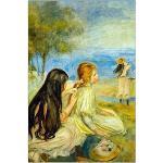 ArtPlaza Renoir Pierre-Auguste-Girls by The Seaside Panneau Décoratif, Bois, Multicolore, 60 x 1,8 x 90 cm