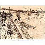 ArtPlaza Van Gogh Vincent Iron Bridge at Trinquetaille on The Rhone Panneau Décoratif, Bois, Multicolore, 80 x 1,8 x 60 cm