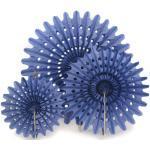 Artyfêtes 3 éventails en papier bleu marine