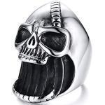 Aruie Bijoux Bague Anneau pour Homme en Acier Inoxydable Tête de Mort Crâne Décapsuleur Punk Rock Biker Vintage Chevalière Cadeau Taille 64