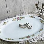 Assiette Ovale De Charme Avec Bord D'Or Et Décoration Florale - Grande Assiette Plateaux Service Porcelaine Cottage Chic