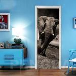 Autocollant De Porte Auto-Adhésif 3D Papier Peint Bricolage Imprimer Art Photo Éléphant D'Afrique Animal Home Decor Peinture Rénovation Sticker Chambre
