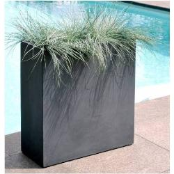 Bac à plantes en fibre de terre 80x30xH.92cm gris plomb