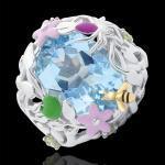Bague Balade Imaginaire - Paradis bleu - Argent, diamants et pierres fin