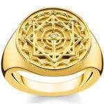 bague boussole vintage dorée Argent sterling 925 ; plaqué or jaune 18 carats, diamant Jaune Thomas Sabo