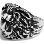 Bague chevalière en acier détail lion