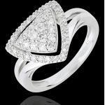 Bague Navette Diamants - or blanc 18 carats