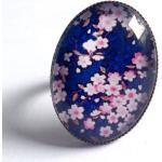 Bague Ovale Cabochon Fleurs De Cerisier Sur Fond Bleu, En Bronze, Romantique. Fleurs Sakura. Style Japonais