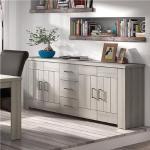 Bahut 220 cm contemporain couleur bois clair OPALINE-L 220 x P 40 x H 85 cm- Beige