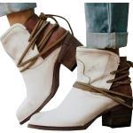 Bcshiye Bottines d'hiver pour femme à talons épais mi-hauts confortables, Femme, Booties for Party, blanc, 8