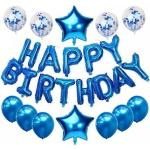 BEARSU Ballon joyeux anniversaire, bannière joyeux anniversaire, avec 2 ballons en aluminium, 4 ballons confettis, 6 ballons de fête en latex, pour la