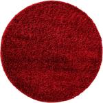 benuta ESSENTIALS Tapis à poils longs Soho Rouge foncé diamètre 120 cm rond