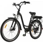 BETTER MAISON 26 pouces Vélo électrique de 7 vitesses 250W avec la lampe frontale EU Prise - Noir