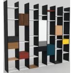 Bibliothèque - Blanc, design contemporain, avec porte Noyer et tiroir Graphite - 272 x 233 x 35 cm