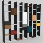 Bibliothèque - Noir, design contemporain, avec porte Noyer et tiroir Anthracite - 272 x 233 x 35 cm