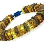 Big Size Natural Baltic Amber Bracelet Flat Square Beads On Cord Original Handmade Unisex Stylish Amber Bijoux 27G 10676