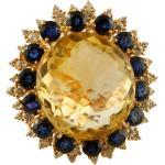 Big Yellow Topaz, Diamants, Saphirs Bleus, Bague Vintage 18K Rose Gold