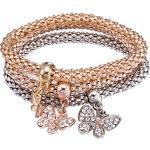 Bijoux Fantaisie Extensible Bracelets 3pcs Or / Argent / Or Rose Maïs Chaîne Charms Cristal Bracelets Multilayer (Papillon