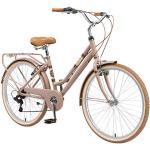 """BIKESTAR VTC Vélo de Ville en Aluminium 26"""" Pouces   7 Vitesse Shimano, Vélo Urbain pour Femme, Vélo de Confort Retro   Marron"""