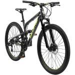 BIKESTAR VTT en Aluminium, Frein à Disque, 21 Vitesses Shimano, 26 Pouces | Mountainbike Tout Suspension Integral Cadre 16 Pouces | Noir