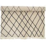 Bloomingville - Tapis en laine 300 x 200 cm, motif de losanges, beige/ noir