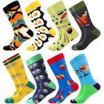 Bonangel Chaussettes pour homme, longues en coton imprimé, chaussettes tendance, colorées et amusantes - Multicolore - 39-46