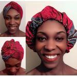Bonnet Headwrap Turban Wax/ Foulard Wax Satin 2 En 1 Rouge Noir Gris Arbre Lune Plante Idée Cadeau Femme Fête Mères