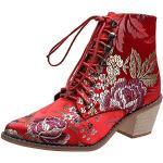 Chaussures rouges thermiques à bouts ronds à fermetures éclair look sexy pour femme